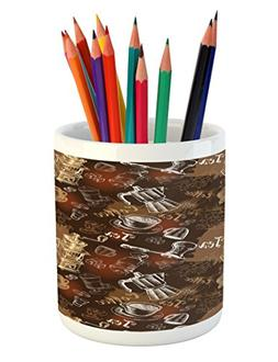 Modern Pencil Pen Holder by Ambesonne, Coffee Culture Theme