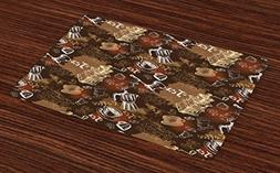 Ambesonne Modern Place Mats Set of 4, Coffee Culture Theme w