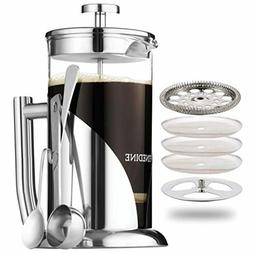 NEW French Press Coffee Maker By FineDine- Stainless Steel,
