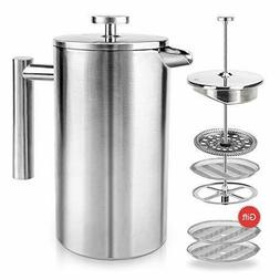 NEW ENLOY French Press Coffee Maker Double-Wall Stainless St
