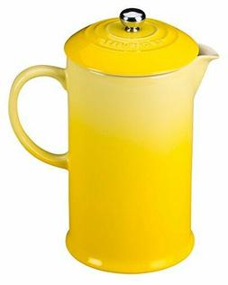 New in Box Le Creuset Café Stoneware French Press Soleil 2