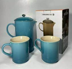 New Le Creuset Stoneware French Press Coffee Maker 27oz + 2