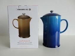 NIB LE CREUSET Blueberry Blue Stoneware French Press Coffee