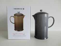 NIB LE CREUSET Oyster Grey Stoneware French Press Coffee Mak