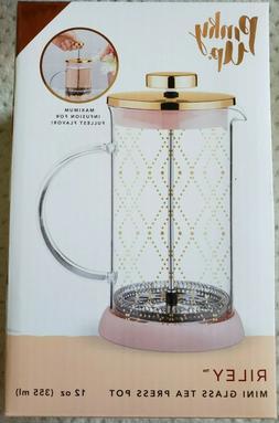 NIB Pinky Up RILEY Mini Souk Gold Glass Tea Press Pot