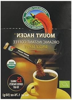 Mount Hagen Organic Instant Regular Coffee, 25 Count Single