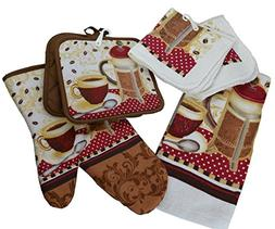6 Piece Kitchen Linen Set - Stylish Coffee Press Theme - Inc