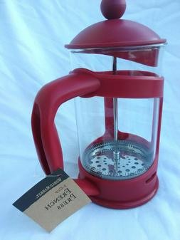 Red 3-Cup Compact Coffee Maker French Press, 12 Oz by World