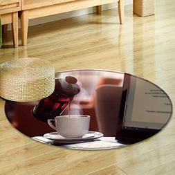 Round Rug Kid Carpet Using laptop by French press  Home De