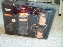 Sharper Image Rose Gold Coated French Press 3 Piece Set Bran