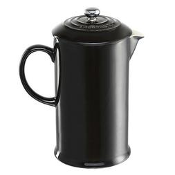 Le Creuset Shiny Black Stoneware French Press Coffee Maker,