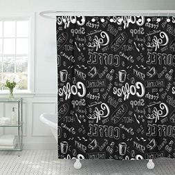 Ashleyallen Shower Curtains White Cafe Doodle Coffee Pattern