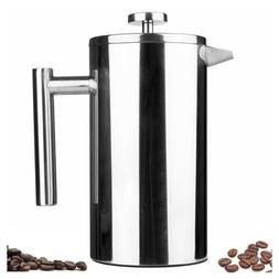 Small Stainless Steel French Press 12oz Coffee Plunger Pot T