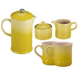 soleil yellow stoneware coffee service
