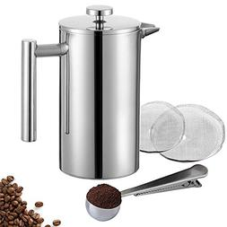 Miuly Stainless Steel Cafetiere Gift Set, 3 Cup Cafetiere, D