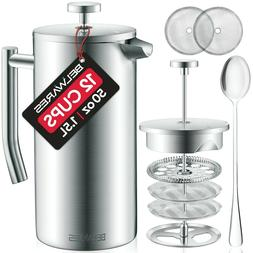 Belwares Stainless Steel French Coffee Press, with Double Wa