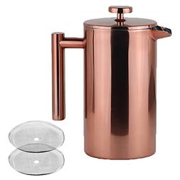 LA JOLIE MUSE French Press Coffee Maker Copper Finish with 2