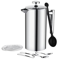 Mpow Stainless Steel French Press, 34 oz Coffee Tea Maker, D