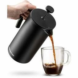 Belwares Stainless Steel Large French Press Coffee Maker Bla