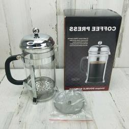 Sterling Pro Coffee Press 8 Cup Rust Proof Frame Double Scre