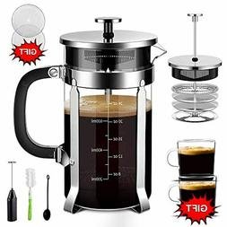 Upgraded French Press Coffee Maker Stainless Steel 34 oz, Co