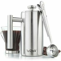 VonShef French Press Brushed Stainless Steel Double Walled C