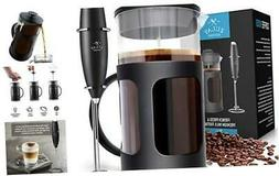 Zulay Premium French Press Coffee Pot and Milk Frother Set -